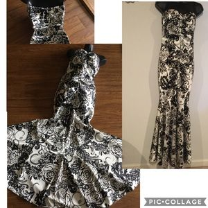 Xscape Black/White Floral Strapless Mermaid Gown